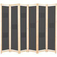 vidaXL Parawan 6-panelowy, szary, 240 x 170 x 4 cm, tkanina