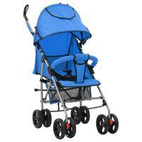 vidaXL Składany wózek spacerowy 2-w-1, niebieski, stal