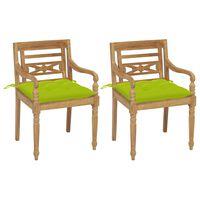 vidaXL Krzesła Batavia z jasnozielonymi poduszkami, 2 szt., tekowe