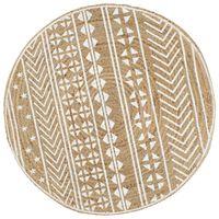 vidaXL Ręcznie wykonany dywanik, juta, biały nadruk, 120 cm