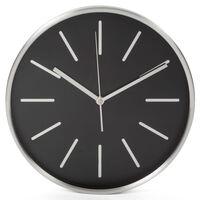 Perel Zegar ścienny, 30 cm, czarno-srebrny