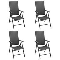 vidaXL Krzesła ogrodowe, 4 szt., polirattan, czarne