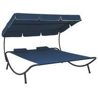 vidaXL Leżak ogrodowy z baldachimem i poduszkami, niebieski