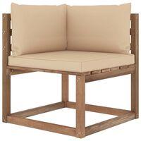 vidaXL Ogrodowa sofa narożna z palet, z beżowymi poduszkami