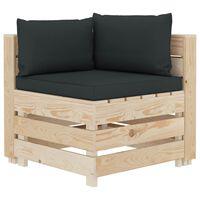 vidaXL Ogrodowa sofa narożna z palet, z antracytowymi poduszkami