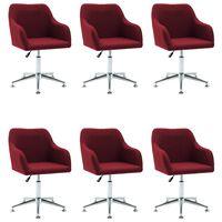 vidaXL Obrotowe krzesła do jadalni, 6 szt., czerwone wino, tkanina