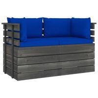 vidaXL Ogrodowa sofa 2-osobowa z palet, z poduszkami, drewno sosnowe