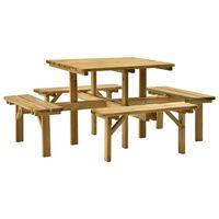 vidaXL Stół piknikowy z 4 ławkami, 172x172x73 cm, impregnowana sosna