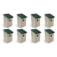 vidaXL Domki dla ptaków, 8 szt., drewniane, 12 x 12 x 22 cm