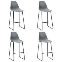 vidaXL Krzesła barowe, 4 szt., szare, plastik