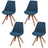 vidaXL Krzesła stołowe, 4 szt., niebieskie, tkanina