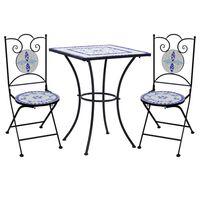 vidaXL 3-cz. mozaikowy zestaw mebli bistro, niebiesko-biały, ceramika