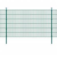 vidaXL 2D Panele i słupki ogrodzeniowe 2008x1230 mm 32 m zielone