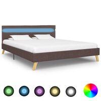 vidaXL Rama łóżka z LED, taupe, tkanina, 160 x 200 cm