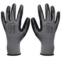 vidaXL Rękawice robocze nitrylowe 24 pary szaro-czarne rozmiar 10/XL