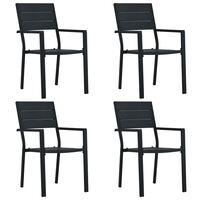 vidaXL Krzesła ogrodowe, 4 szt., czarne, HDPE o wyglądzie drewna
