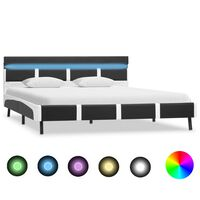 vidaXL Rama łóżka z LED, szara, sztuczna skóra, 160 x 200 cm