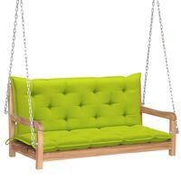 vidaXL Huśtawka ogrodowa z jasnozieloną poduszką, 120cm, drewno tekowe