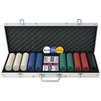 vidaXL Zestaw do pokera 500 żetonów, aluminium