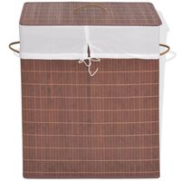 vidaXL Bambusowy kosz na pranie, prostokątny, brązowy