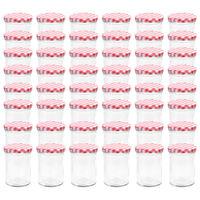 vidaXL Szklane słoiki na dżem, biało-czerwone pokrywki, 48 szt, 400 ml