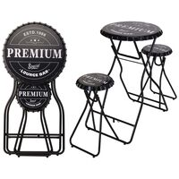 Ambiance Składany stolik barowy z taboretami, czarny