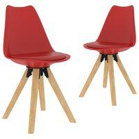 vidaXL Krzesła stołowe, 2 szt., czerwone