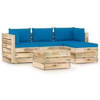 vidaXL 5-cz. zestaw wypoczynkowy do ogrodu, z poduszkami, drewniany