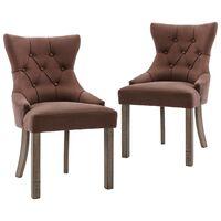 vidaXL Krzesła stołowe, 2 szt., brązowe, tapicerowane tkaniną