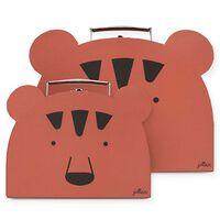 Jollein 2-cz. zestaw walizek dla dzieci Animal Club, czerwony Rust Red
