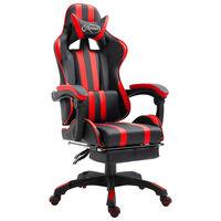 vidaXL Fotel dla gracza z podnóżkiem, czerwony, sztuczna skóra