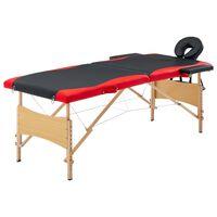 vidaXL Składany stół do masażu, 2 strefy, drewniany, czarno-czerwony