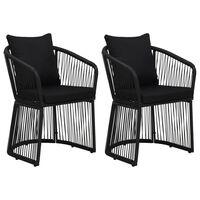 vidaXL Krzesła ogrodowe z poduszkami, 2 szt., rattan PVC, czarne