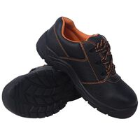 vidaXL Buty ochronne czarne, rozmiar 45, skórzane