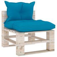vidaXL Sofa środkowa z palet, z poduszkami, drewno sosnowe