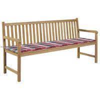 vidaXL Ławka ogrodowa z poduszką w czerwoną kratę, 175 cm, lity tek