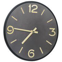 vidaXL Zegar ścienny, antracytowo-złoty, 31,5 cm, żelazo i MDF