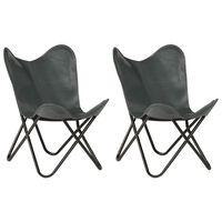 vidaXL Krzesła typu motyl, 2 szt., szare, dziecięce, skóra naturalna