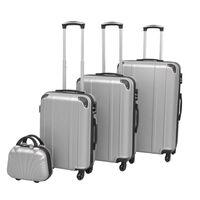 vidaXL Zestaw walizek na kółkach w kolorze srebrnym, 4 szt.