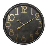 Gifts Amsterdam Zegar ścienny, antyczna czerń i złoty, 80,5 cm