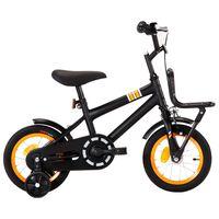 vidaXL Rower dla dzieci z bagażnikiem, 12 cali, czarno-pomarańczowy