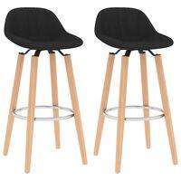 vidaXL Krzesła barowe, 2 szt., czarne, tapicerowane tkaniną