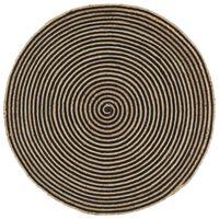 vidaXL Dywanik ręcznie wykonany z juty, spiralny wzór, czarny, 120 cm