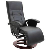 vidaXL Fotel obrotowy, czarny, sztuczna skóra