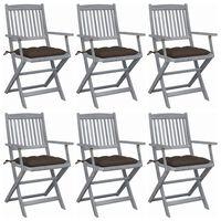 vidaXL Składane krzesła ogrodowe, 6 szt., z poduszkami, akacjowe