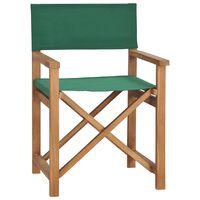 vidaXL Krzesło reżyserskie, lite drewno tekowe, zielone