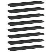 vidaXL Półki na książki, 8 szt., wysoki połysk, czarne, 40x10x1,5 cm