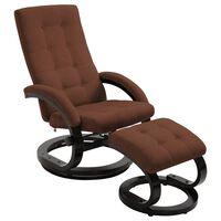 vidaXL Rozkładany fotel z podnóżkiem, brązowy, tkanina zamszopodobna