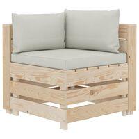 vidaXL Ogrodowa sofa narożna z palet z beżowymi poduszkami, drewniana