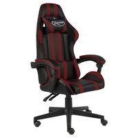 vidaXL Fotel dla gracza, czarno-bordowy, sztuczna skóra